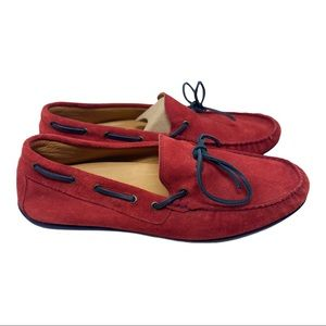 Austen Heller Red suede laced driving loafers